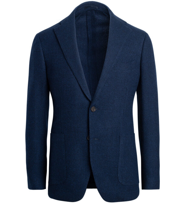 Bedford Faded Navy Textured Stretch Wool Jacket