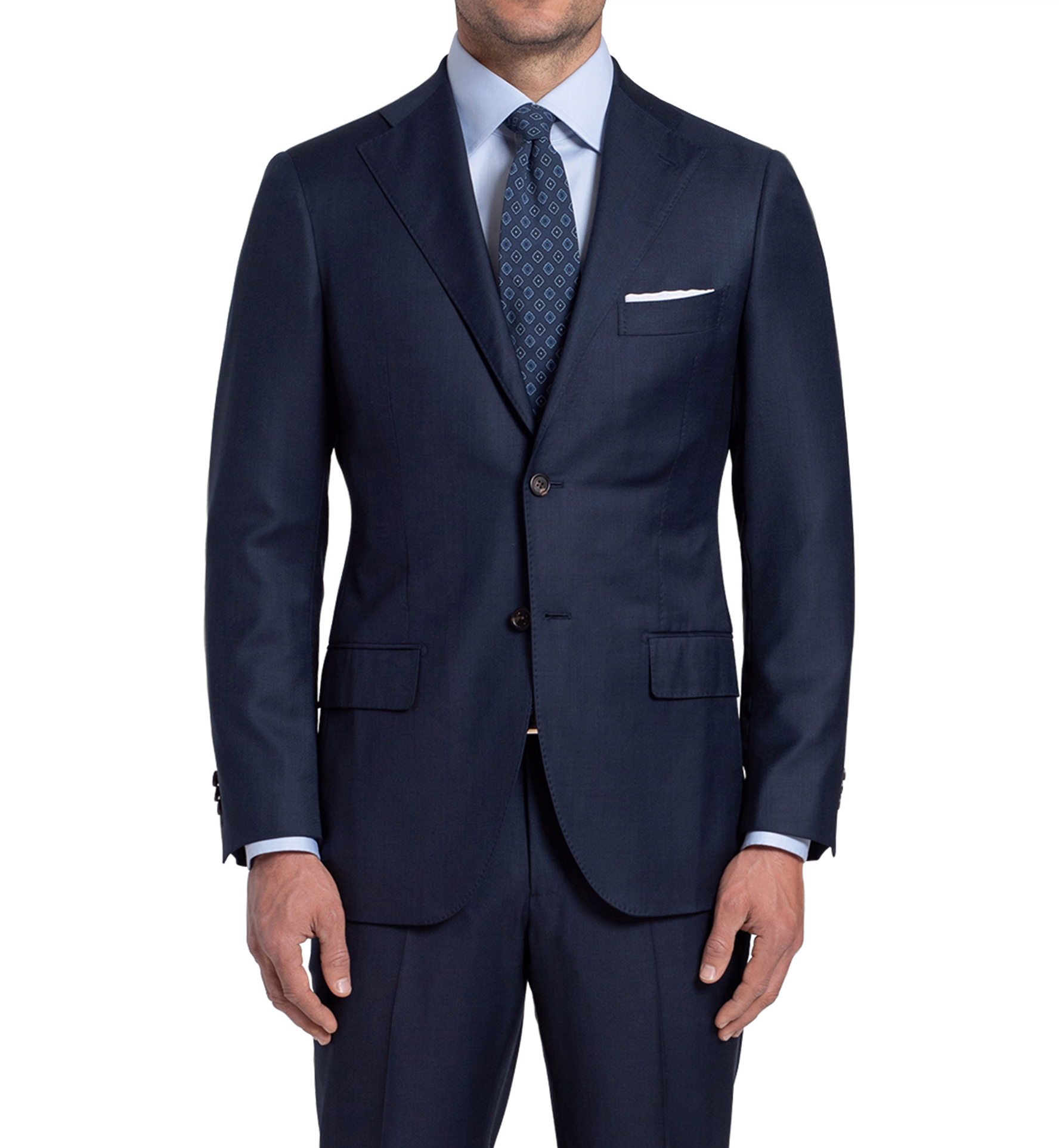 Zoom Image of Allen Navy S130s Sharkskin Suit Jacket