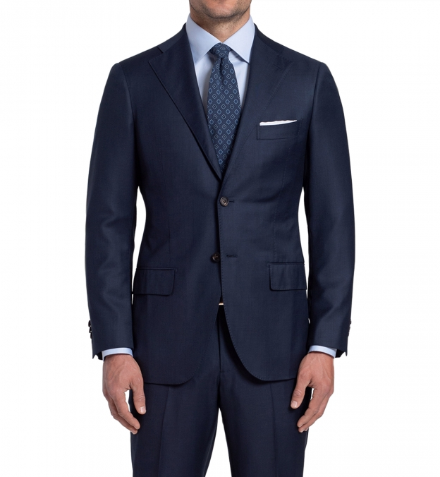 Allen Navy S130s Sharkskin Suit Jacket