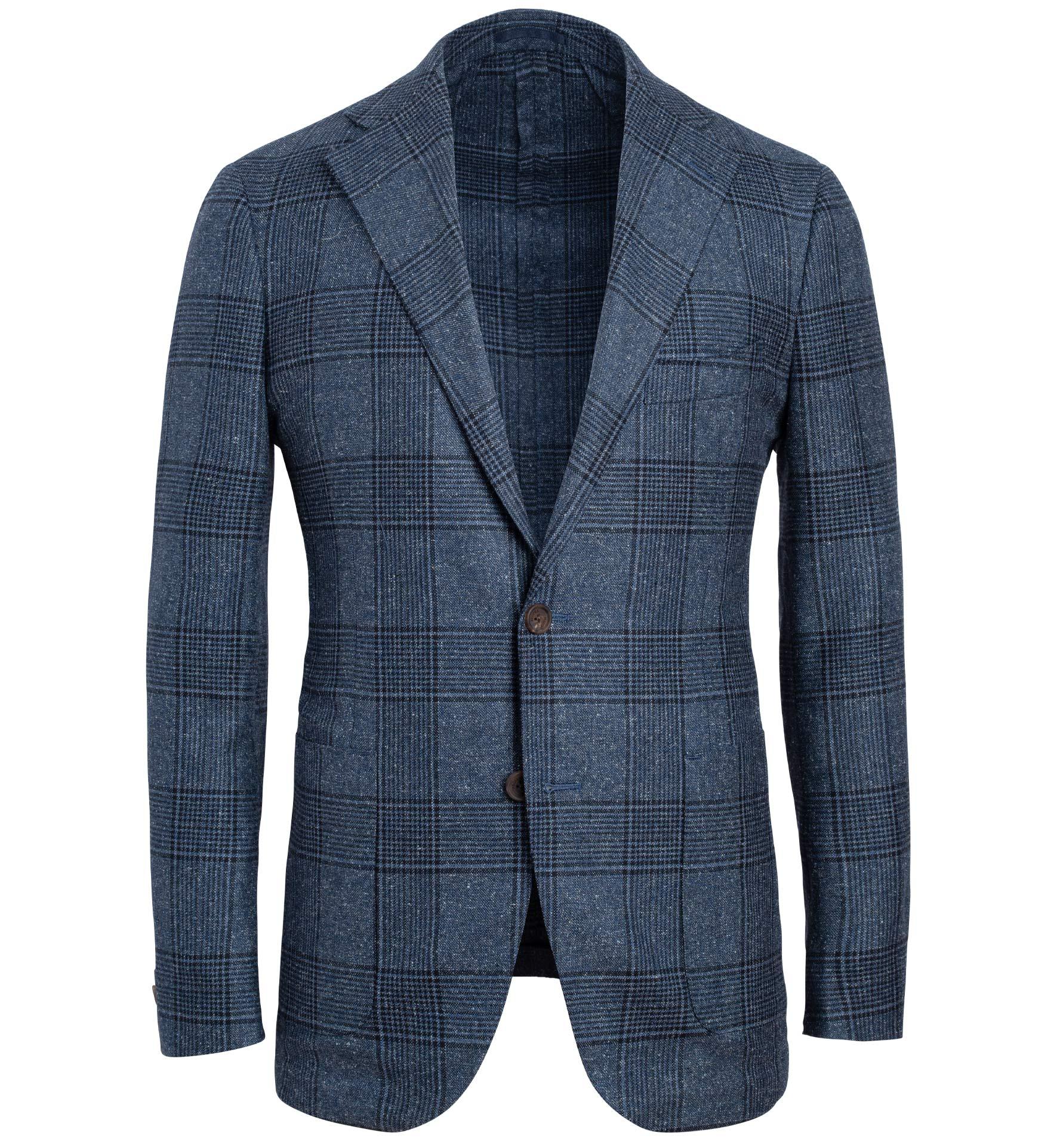 Zoom Image of Bedford Slate Blue Large Glen Plaid Textured Jacket