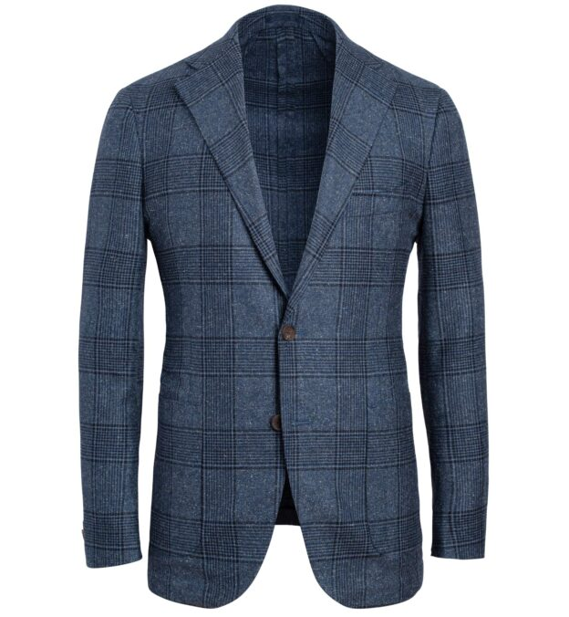 Bedford Slate Blue Large Glen Plaid Textured Jacket