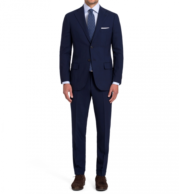 Allen Navy Fresco Suit with Cuffed Trouser