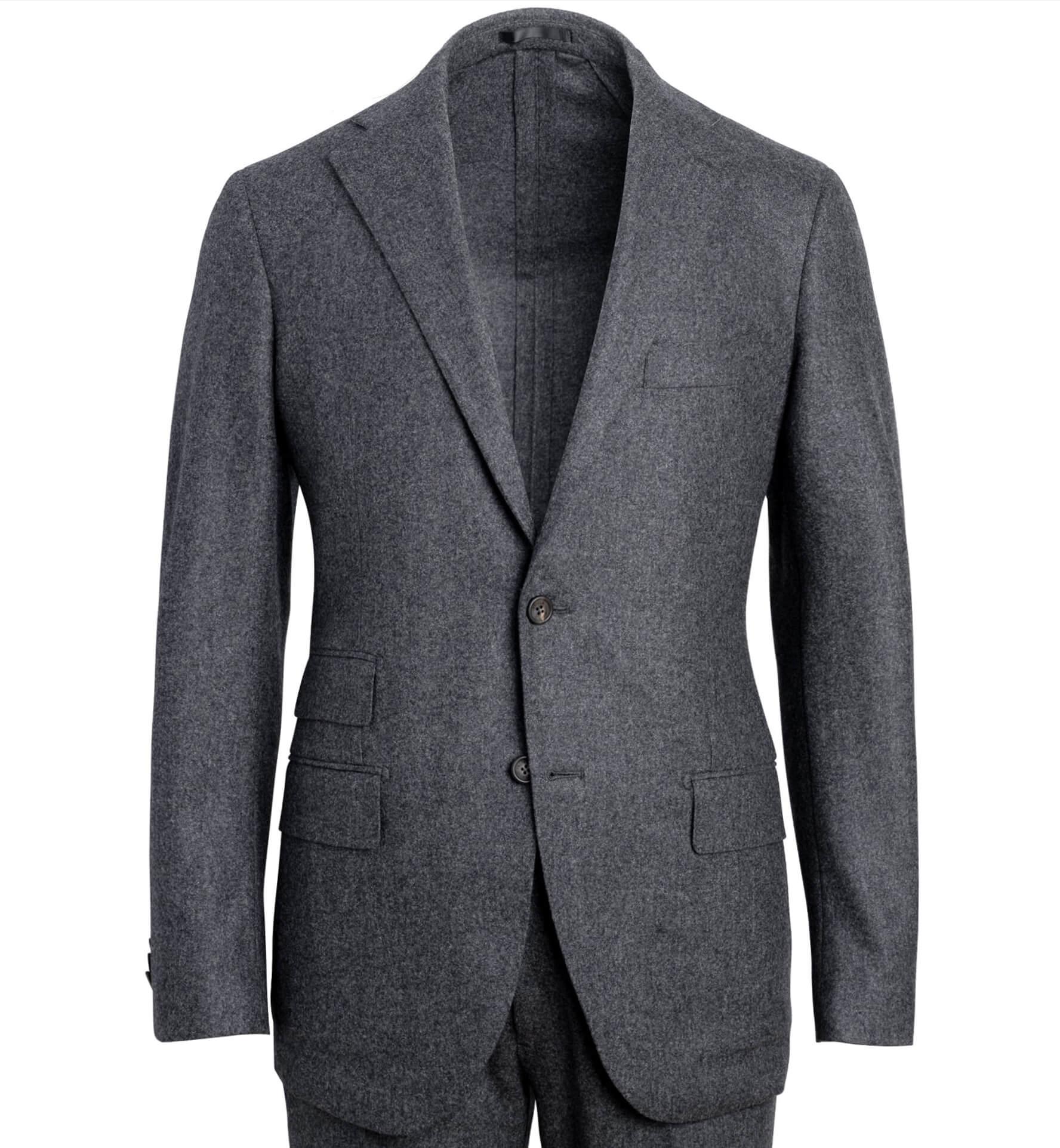 Zoom Image of Allen Grey Wool Flannel Suit Jacket