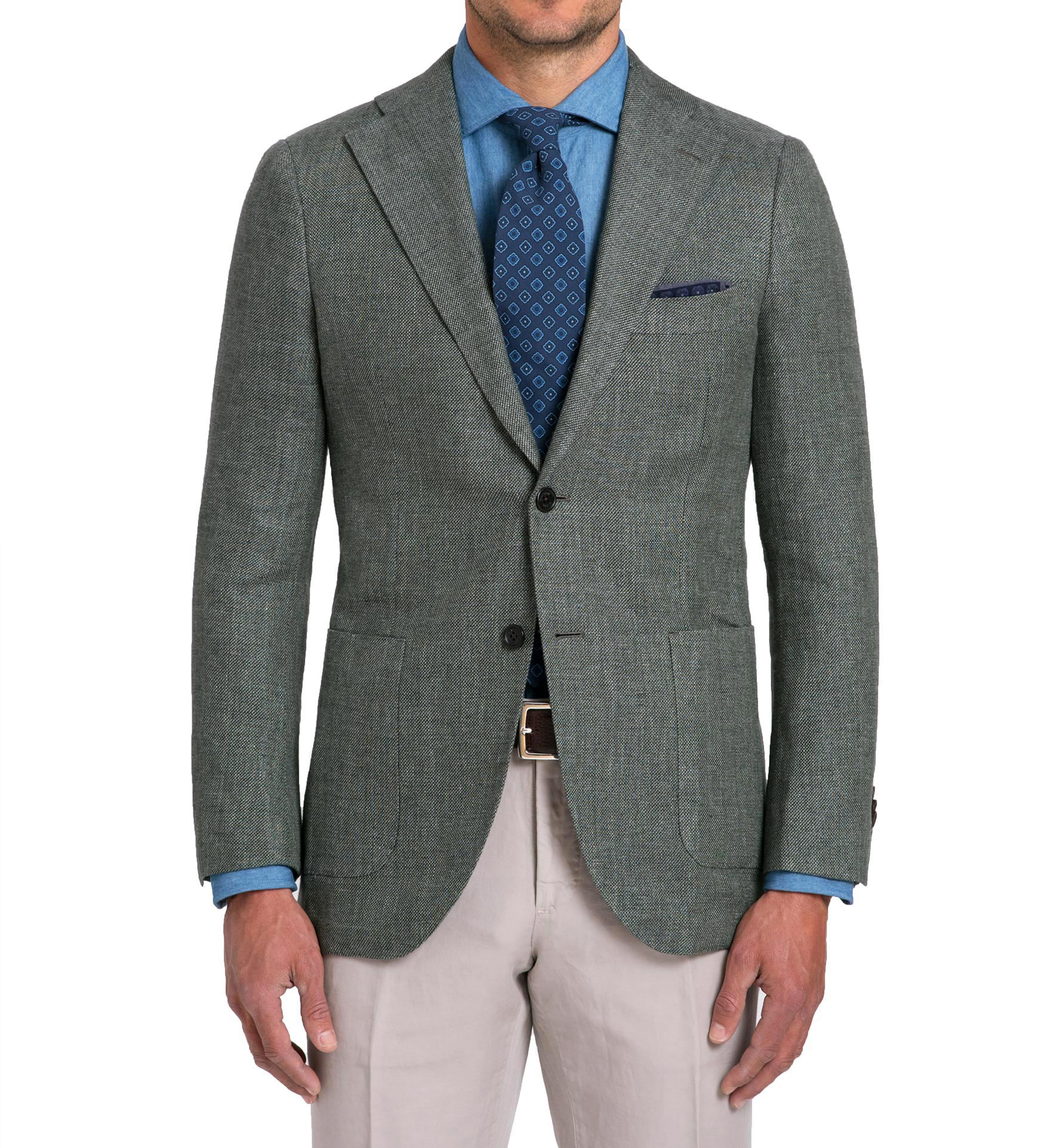 Zoom Image of Bedford Sage Linen and Wool Hopsack Jacket