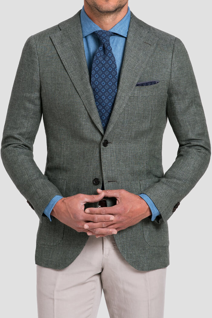 Bedford Sage Linen and Wool Hopsack Jacket
