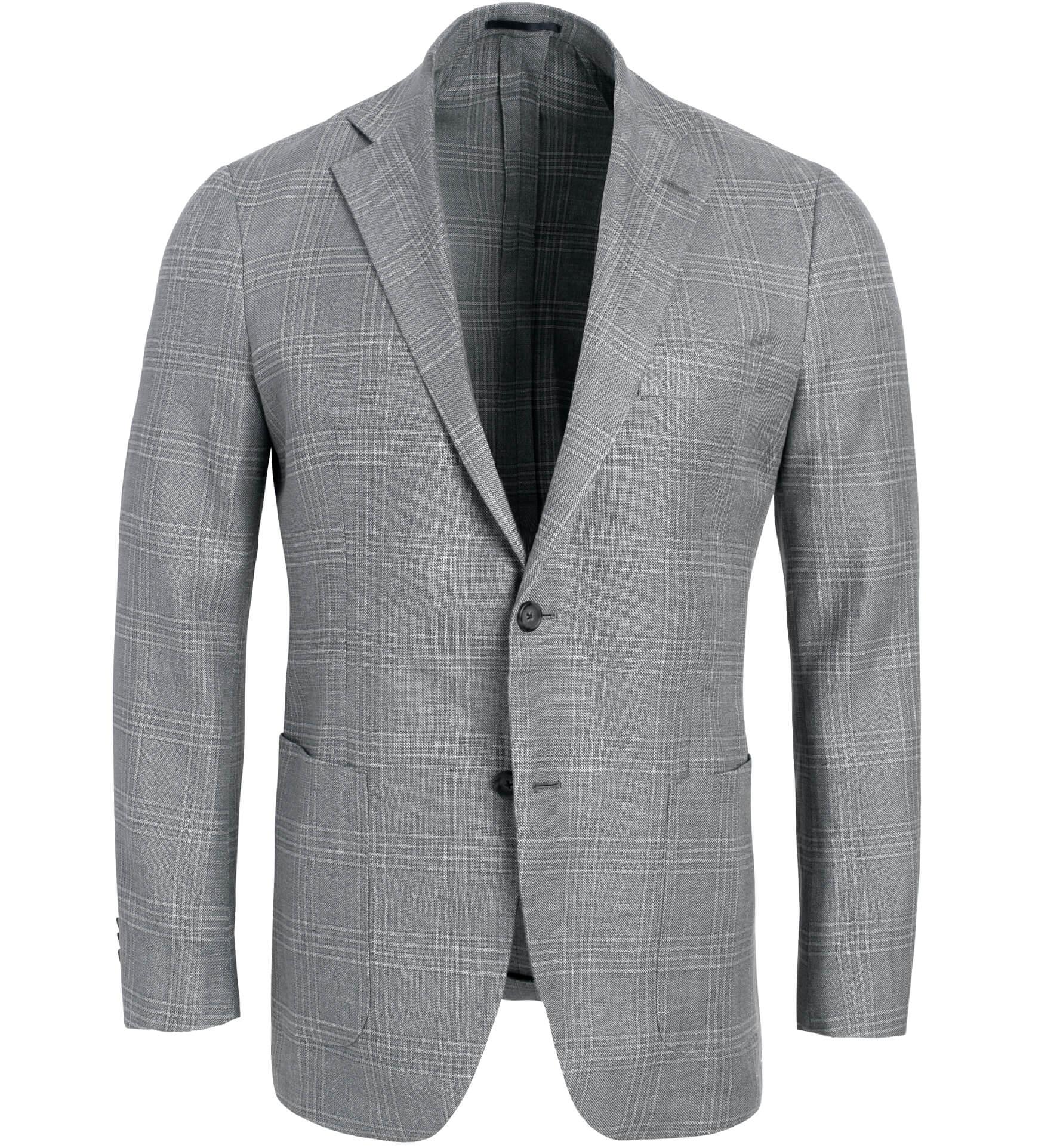 Zoom Image of Bedford Grey Plaid Hemp and Wool Basketweave Jacket