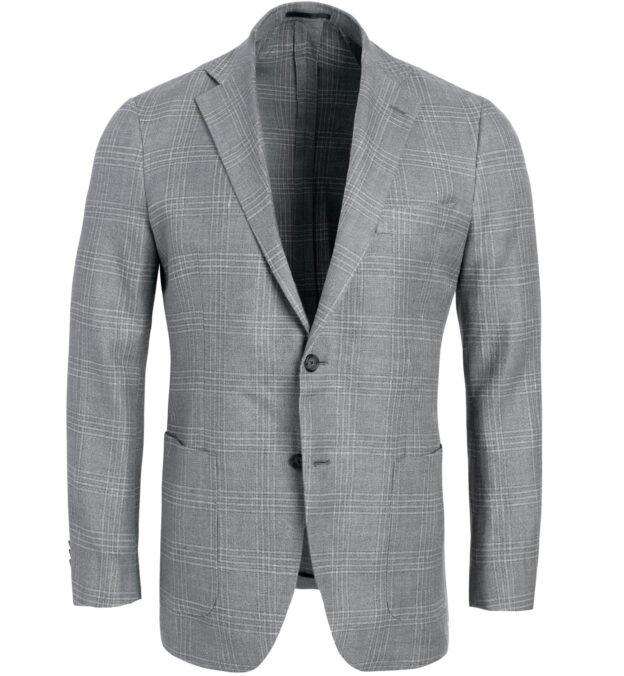 Bedford Grey Plaid Hemp and Wool Basketweave Jacket
