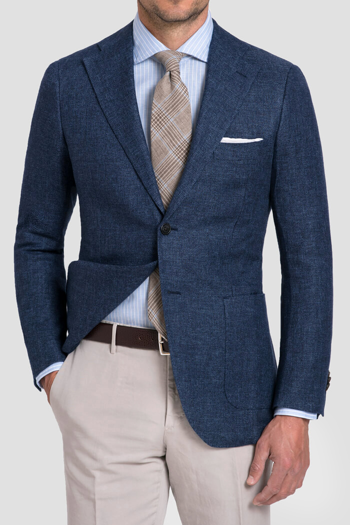 Bedford Ocean Blue Linen and Wool Hopsack Jacket