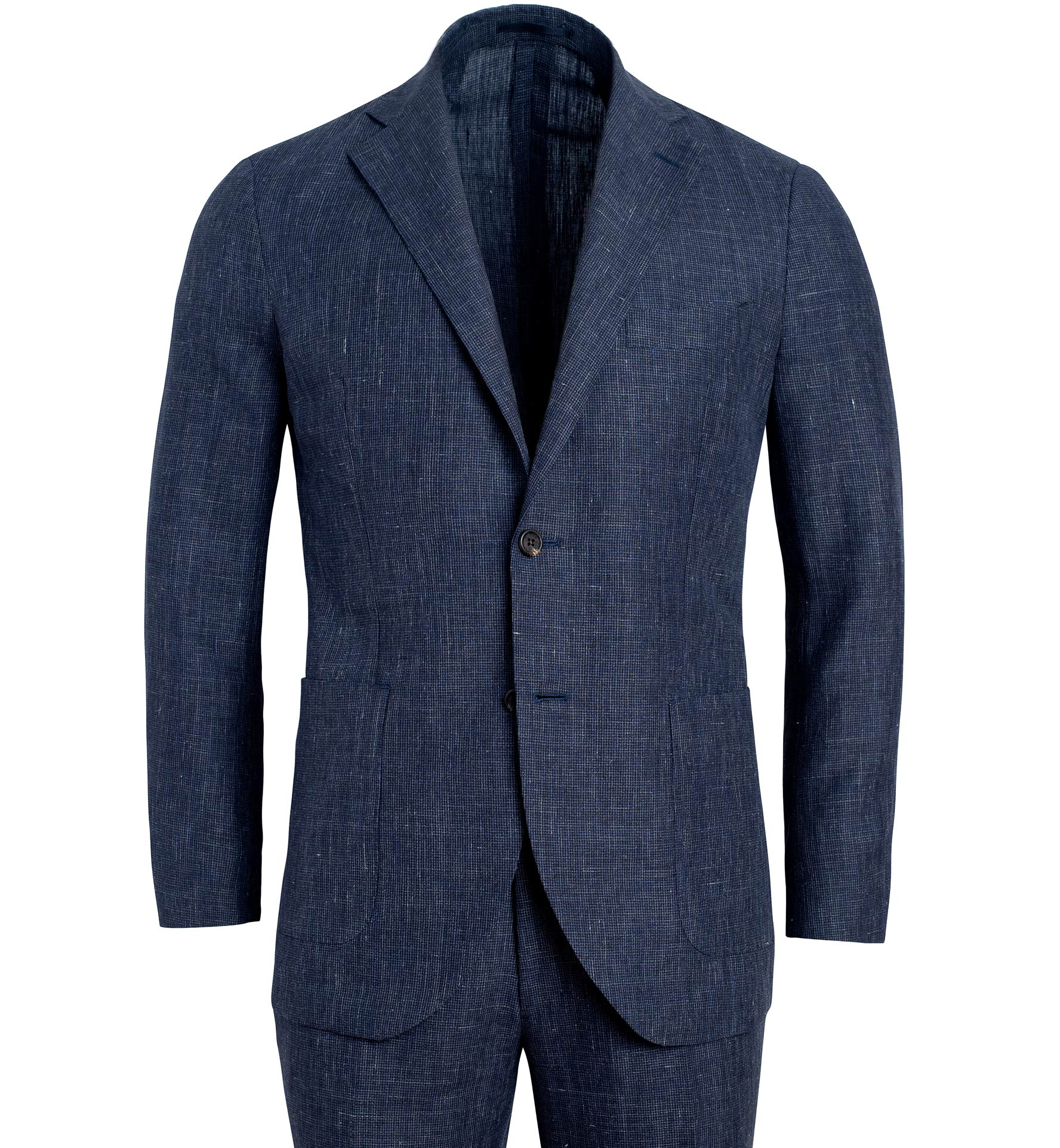 Zoom Image of Bedford Slate Houndstooth Wool and Linen Suit