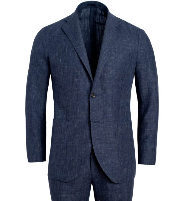 Bedford Slate Houndstooth Wool and Linen Suit