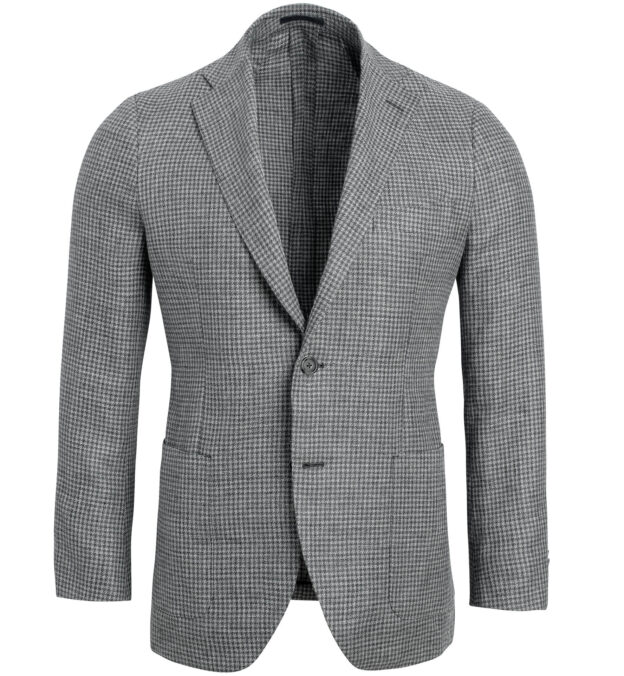 Bedford Grey Houndstooth Linen and Wool Jacket