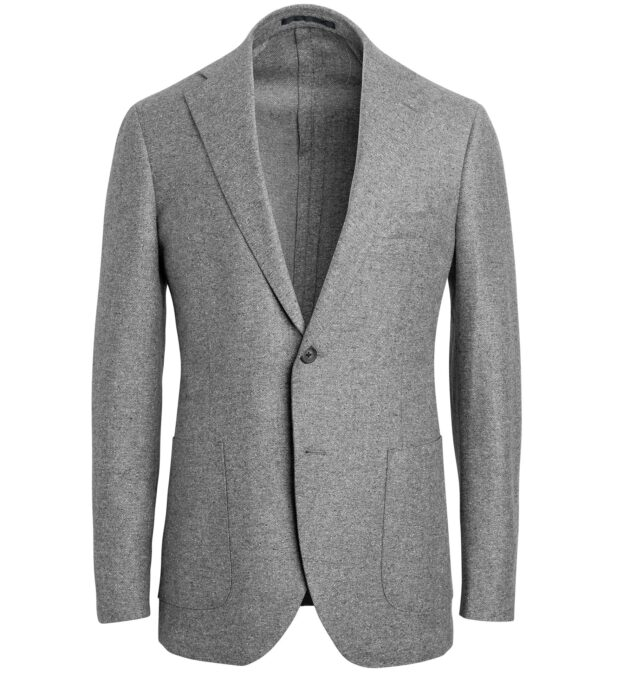 Bedford Light Grey Wool and Silk Flannel Jacket