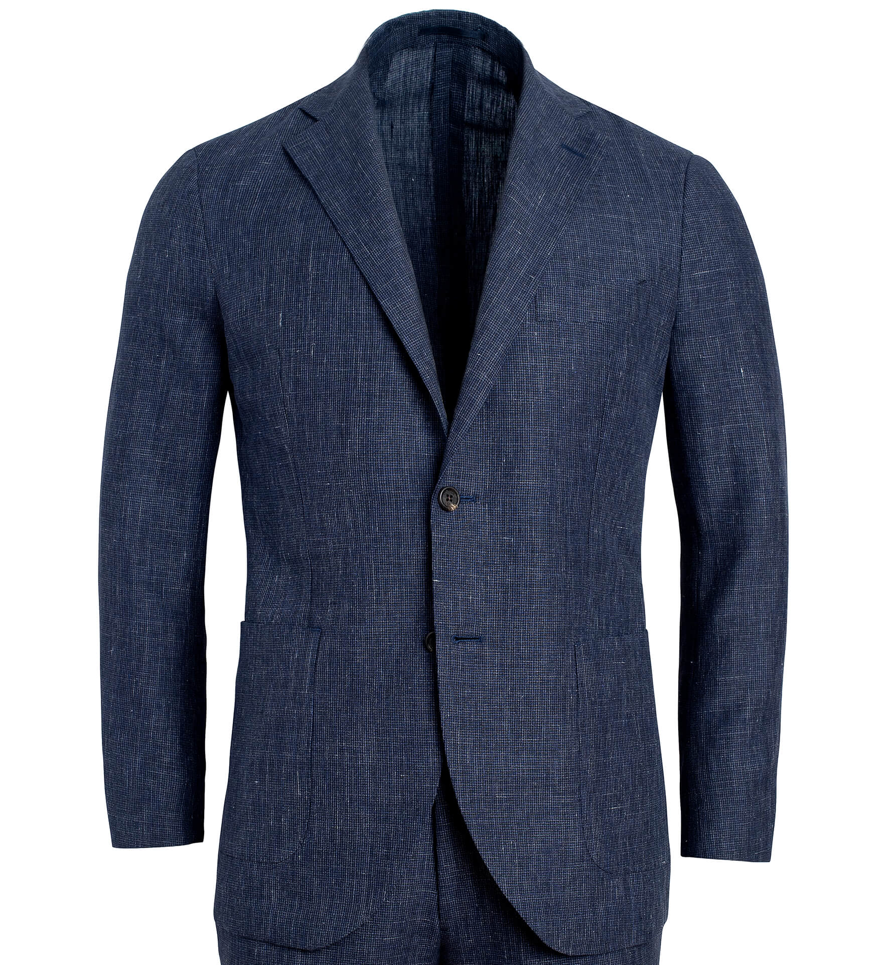 Zoom Image of Bedford Slate Houndstooth Wool and Linen Suit Jacket