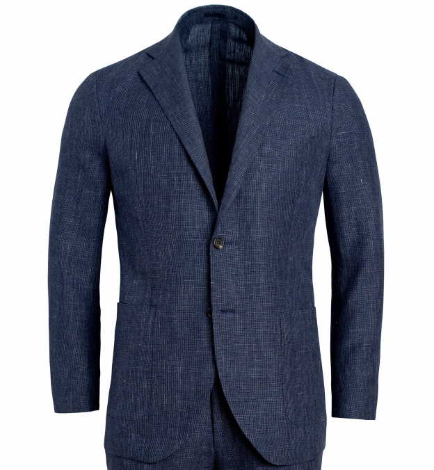 Bedford Slate Houndstooth Wool and Linen Suit Jacket