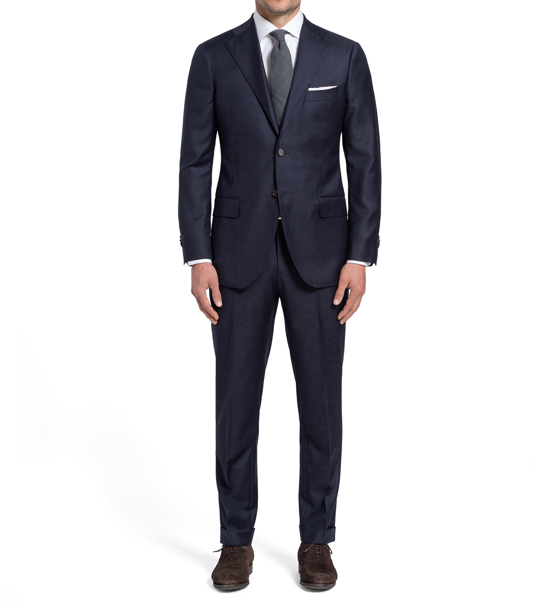 Zoom Image of Allen Navy S110s Wool Suit with Cuffed Trouser