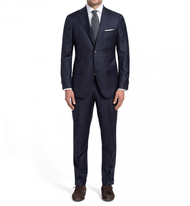 Allen Navy S110s Wool Suit with Cuffed Trouser