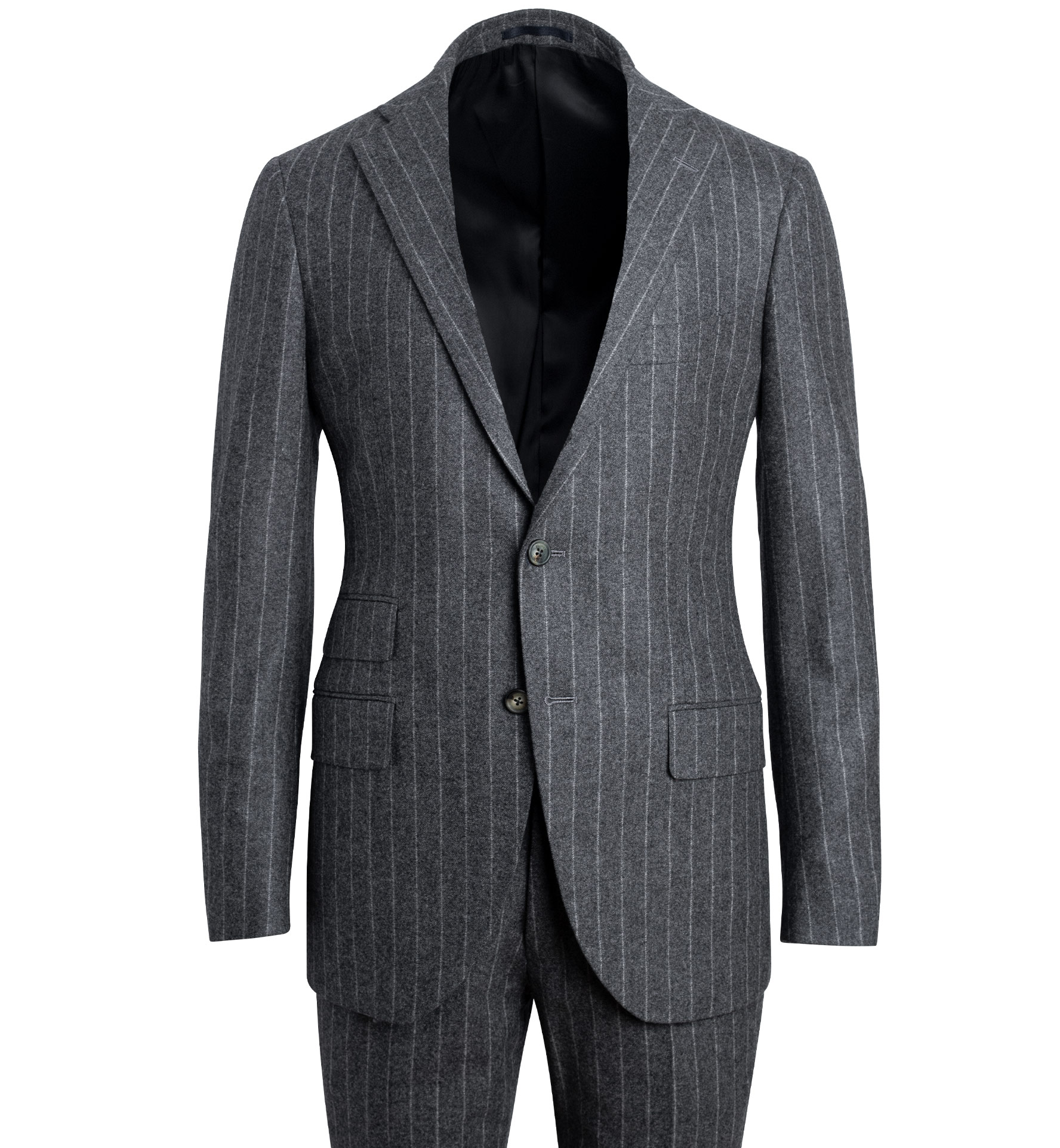 Zoom Image of Allen Grey Chalkstripe Wool Flannel Suit