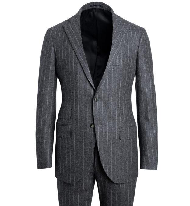 Allen Grey Chalkstripe Wool Flannel Suit