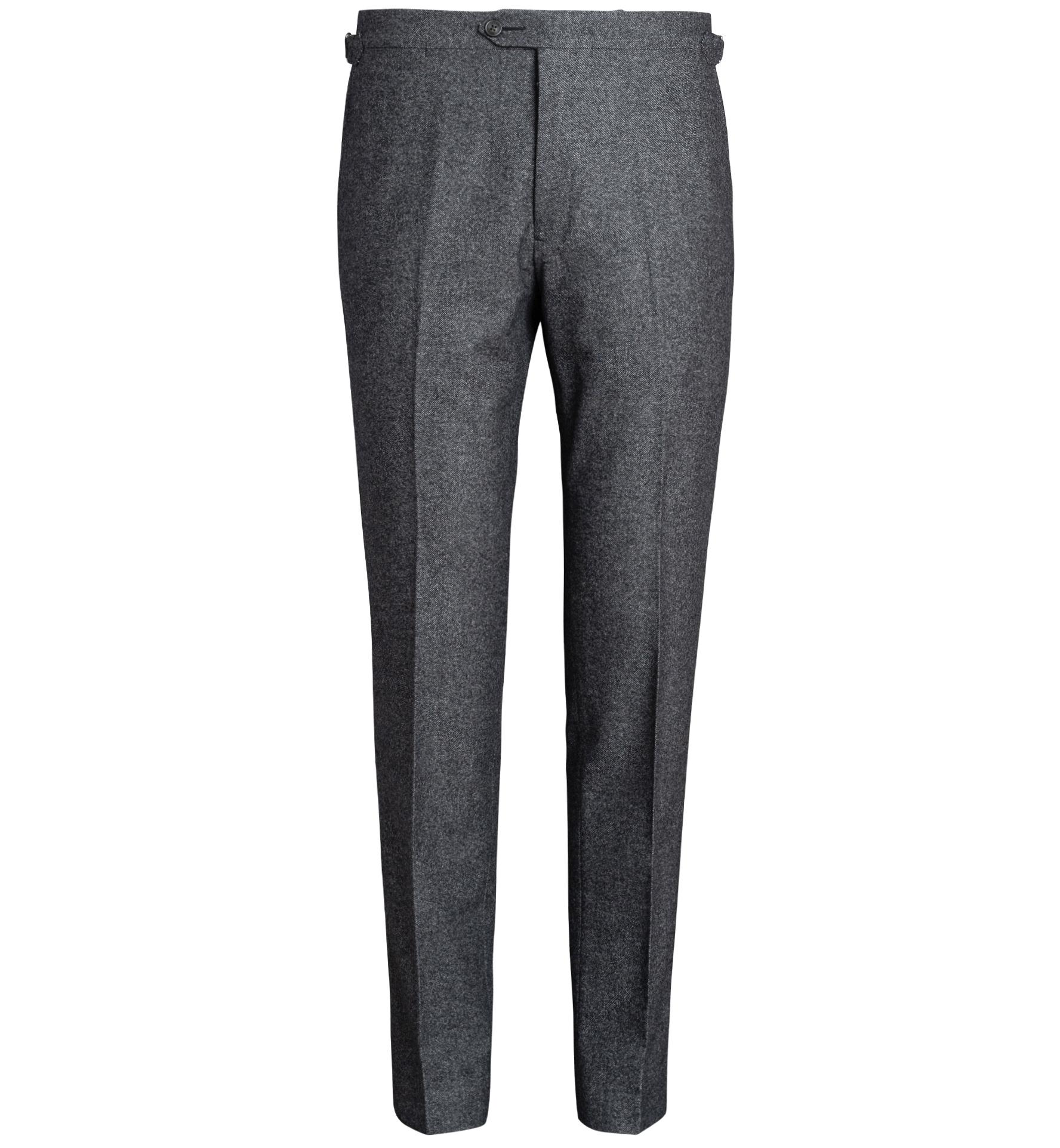 Zoom Image of Allen Grey Mouline Wool Flannel Trouser