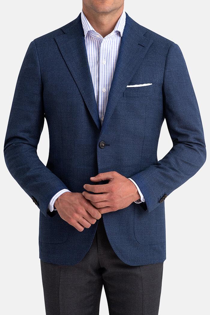 Bedford Ocean Blue Wool Hopsack Jacket