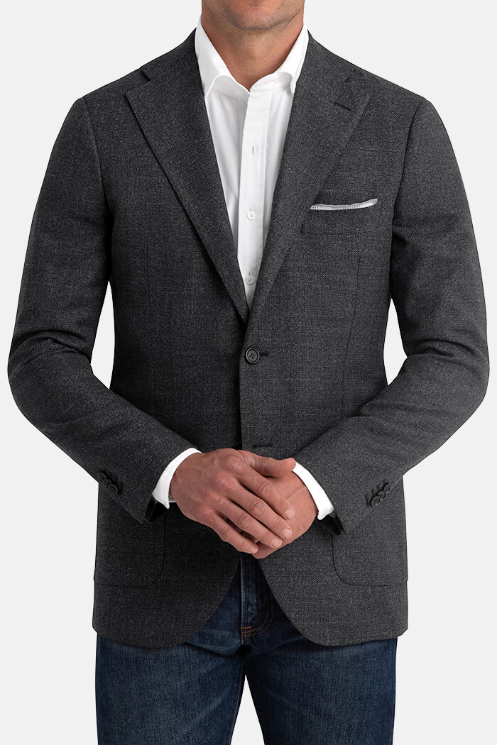 Bedford Charcoal Wool Hopsack Jacket