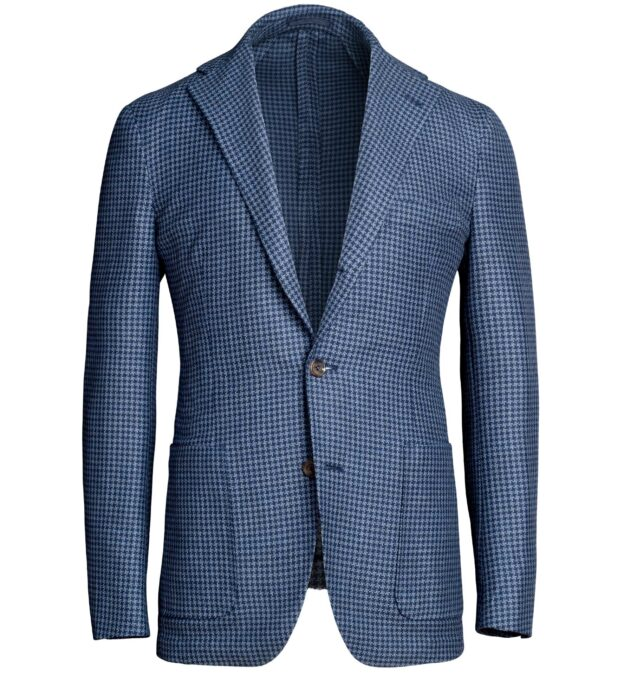 Waverly Blue Houndstooth Wool and Cotton Jacket
