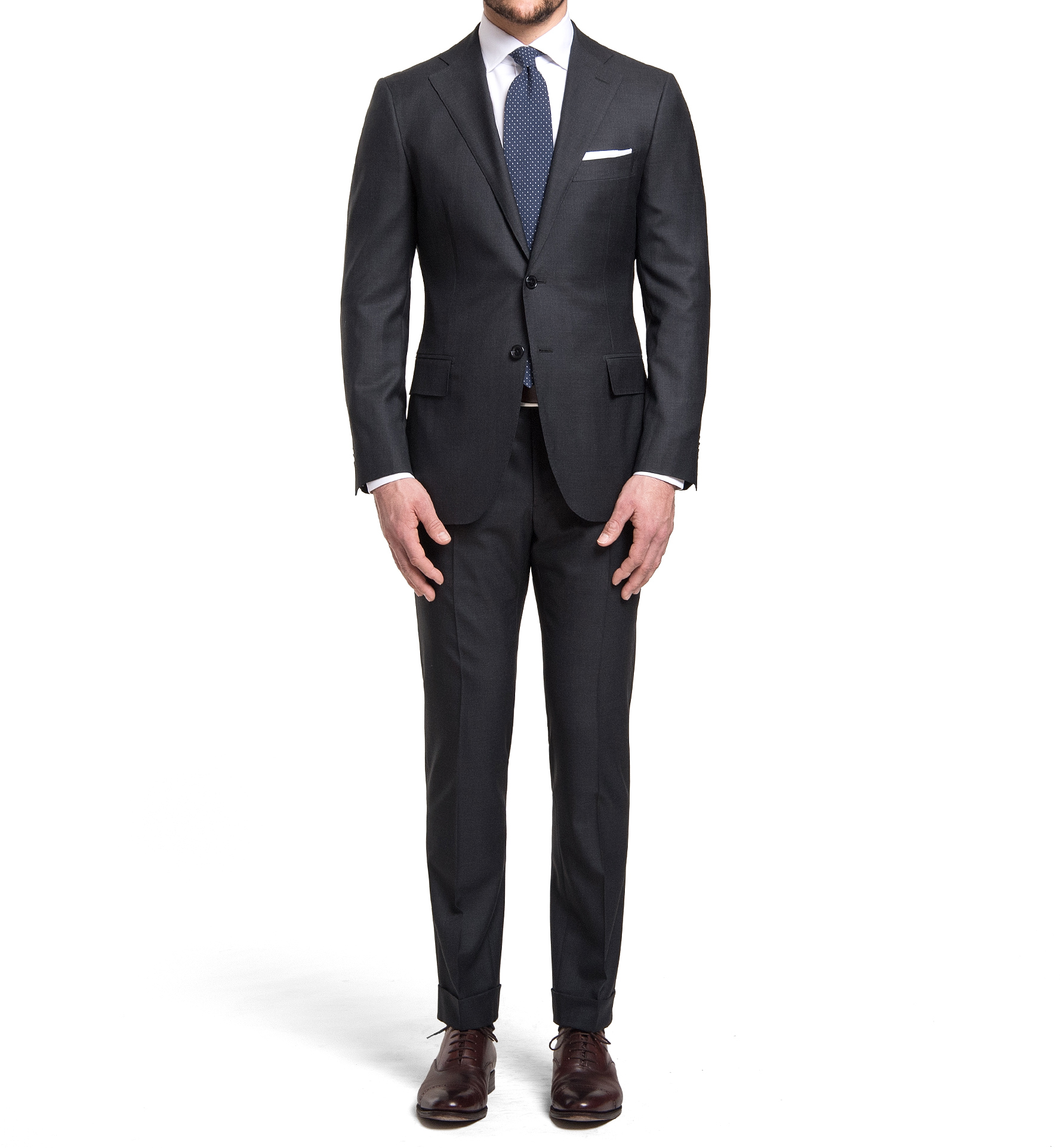 Zoom Image of Mercer Charcoal S150s Wool Suit with Cuffed Trouser