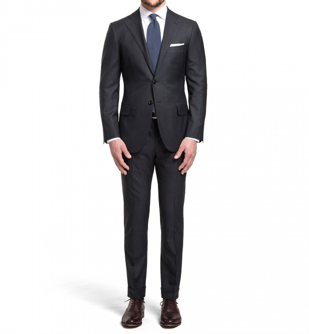 Mercer Charcoal S150s Wool Suit with Cuffed Trouser