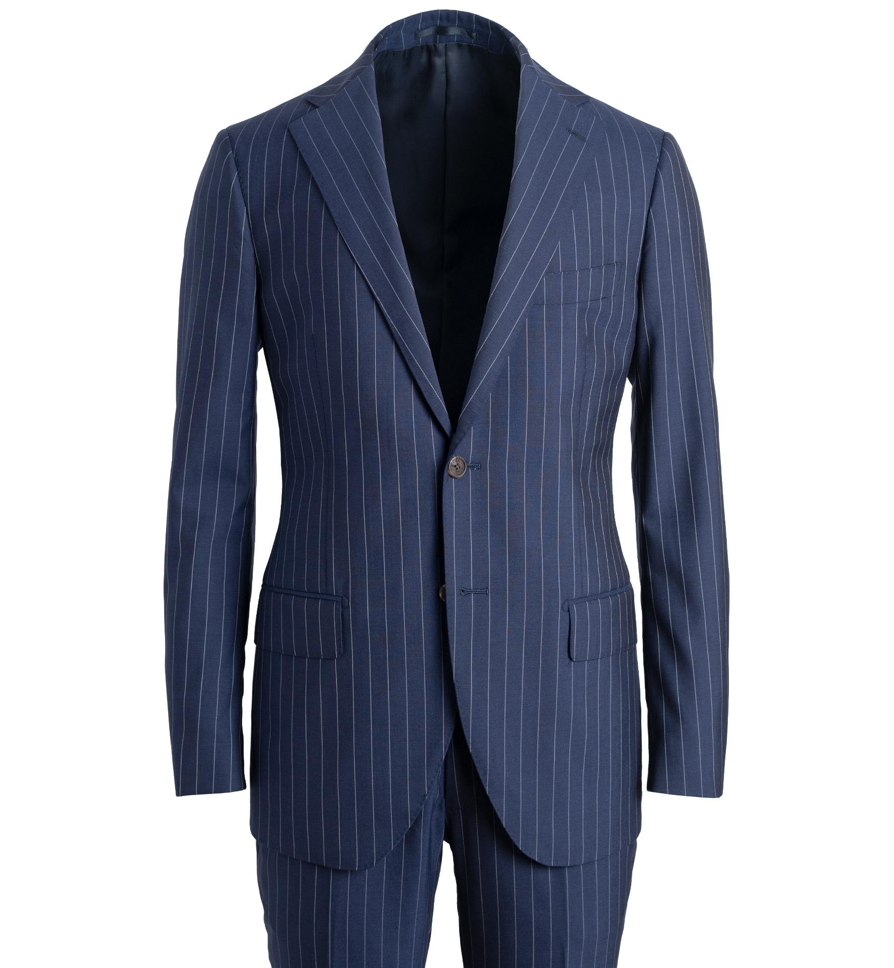 Zoom Image of Allen Navy S130s Pinstripe Tropical Wool Suit