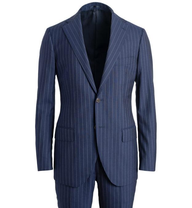 Allen Navy S130s Pinstripe Tropical Wool Suit