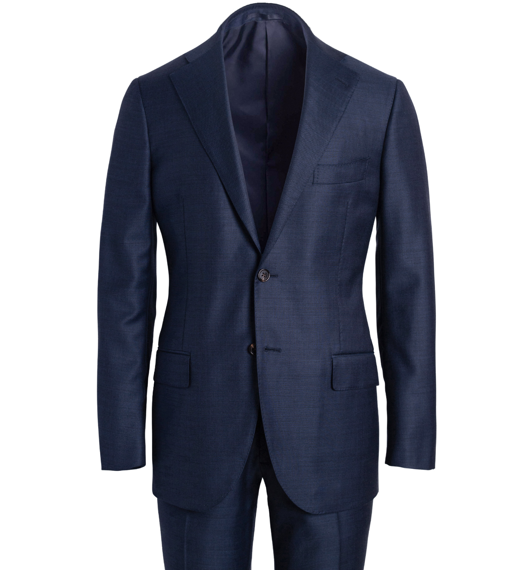 Zoom Image of Allen Blue S110s Sharkskin Suit with Cuffed Trouser