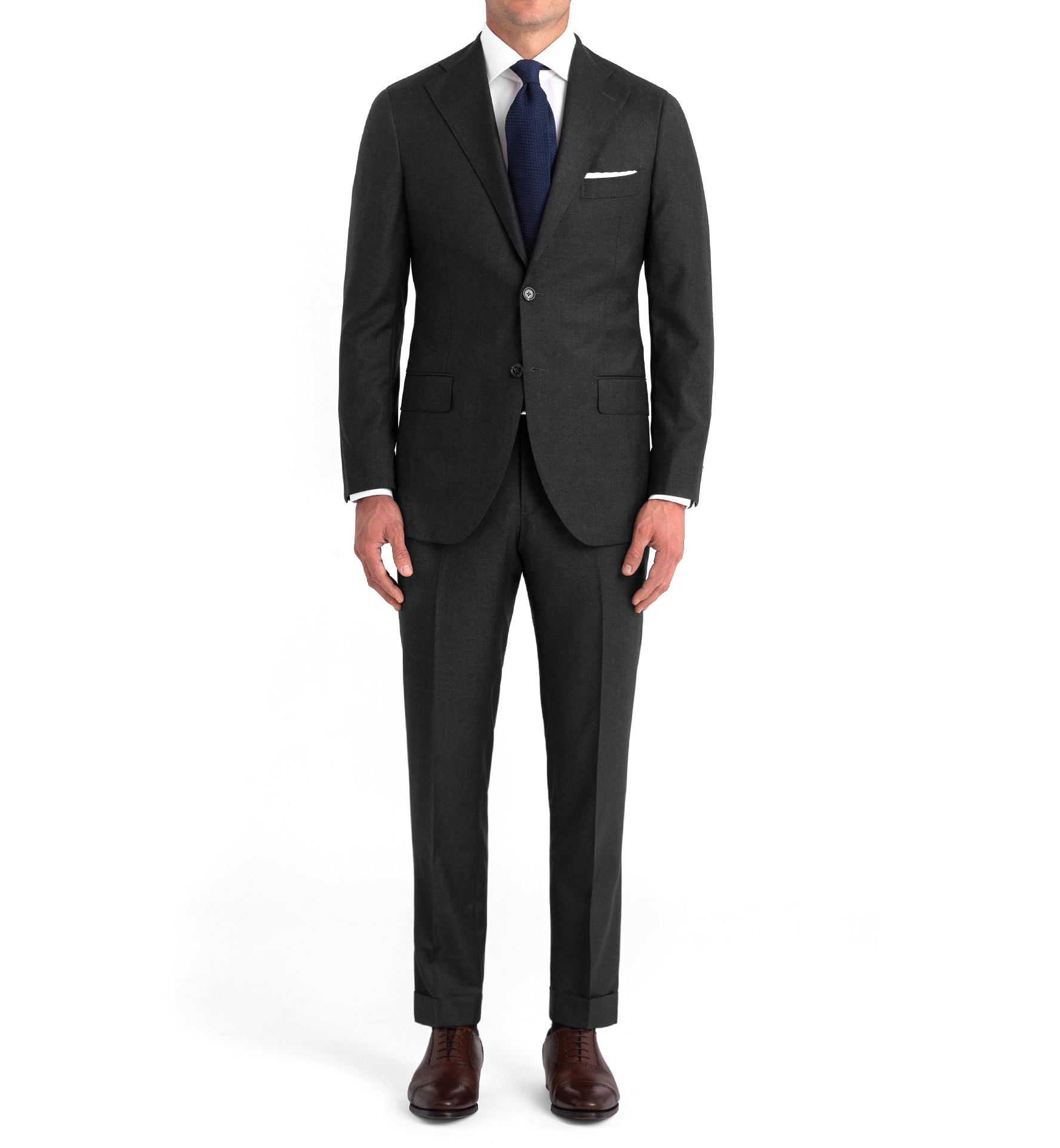 Zoom Image of Allen Charcoal S110s Wool Suit with Cuffed Trouser