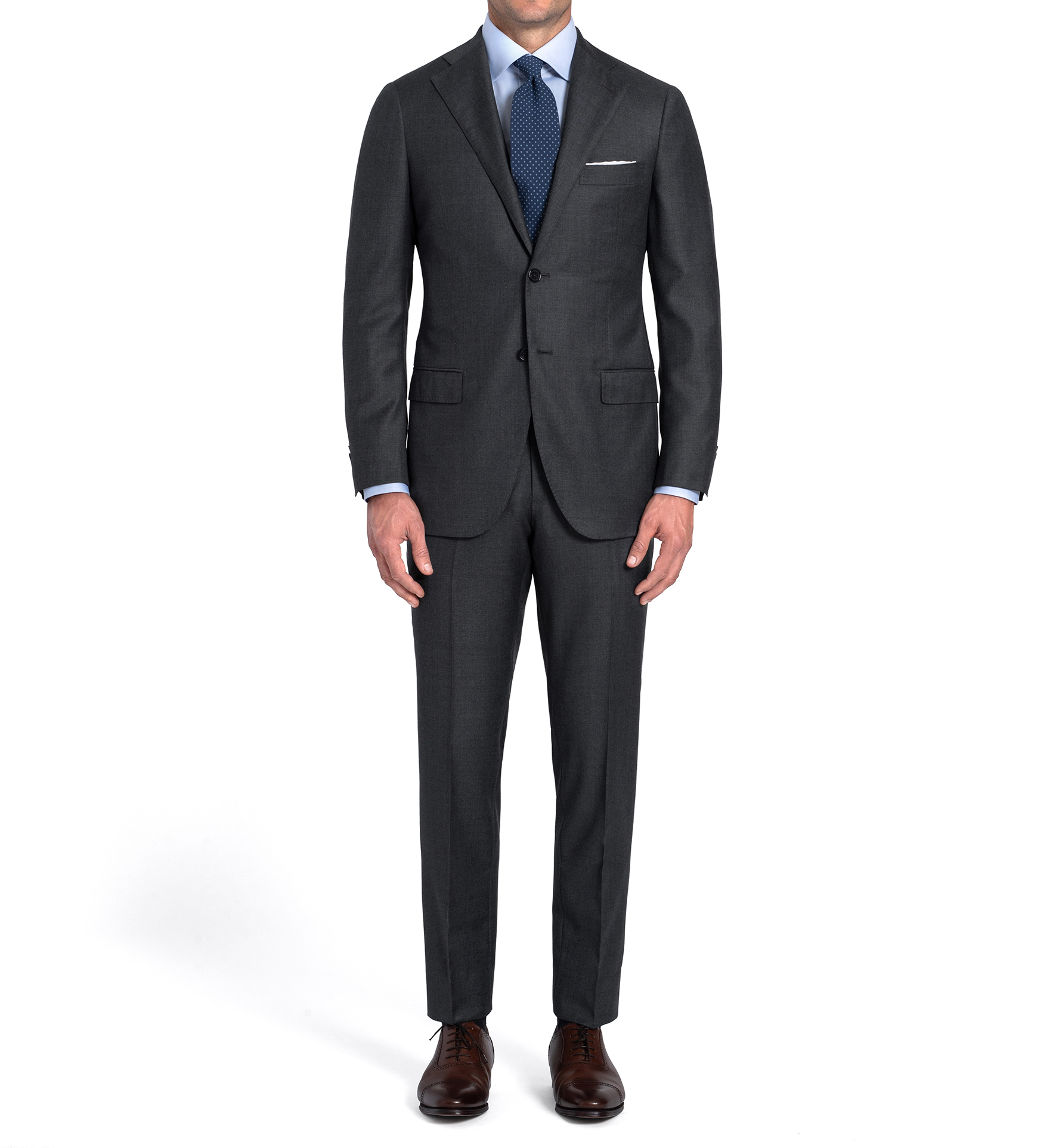 Zoom Image of Allen Grey S110s Nailhead Suit with Cuffed Trouser