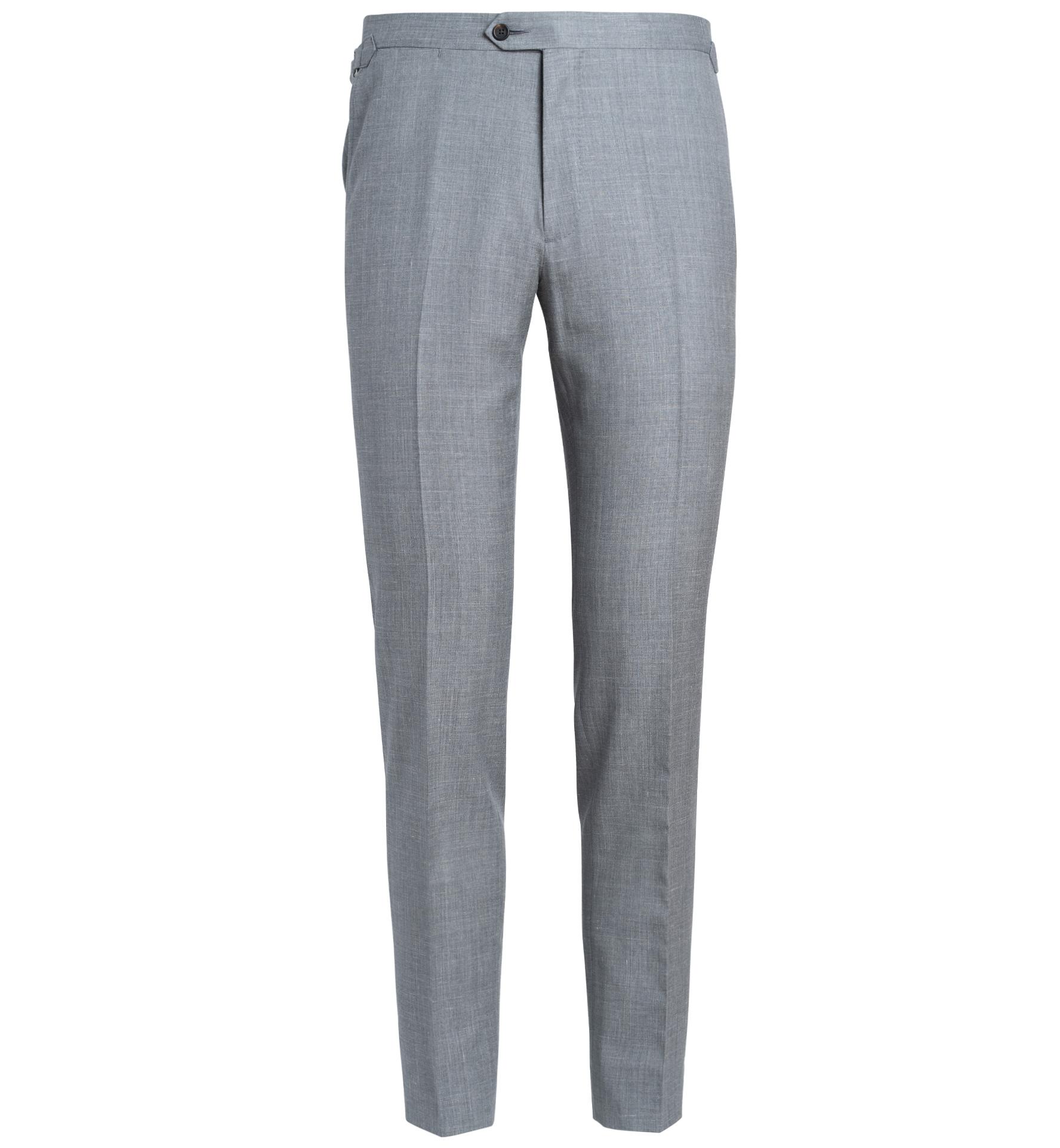 Zoom Image of Allen Light Grey Wool Silk and Linen Trouser