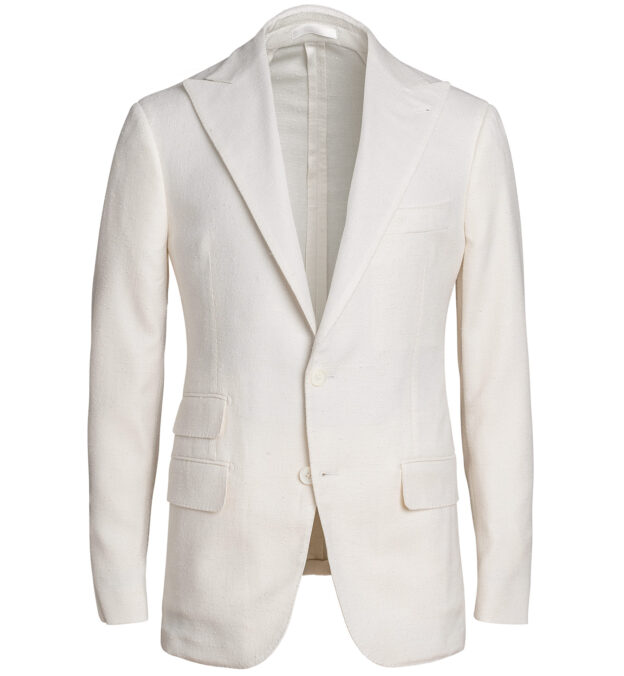 Mayfair Cream Silk and Wool Slub Weave Dinner Jacket