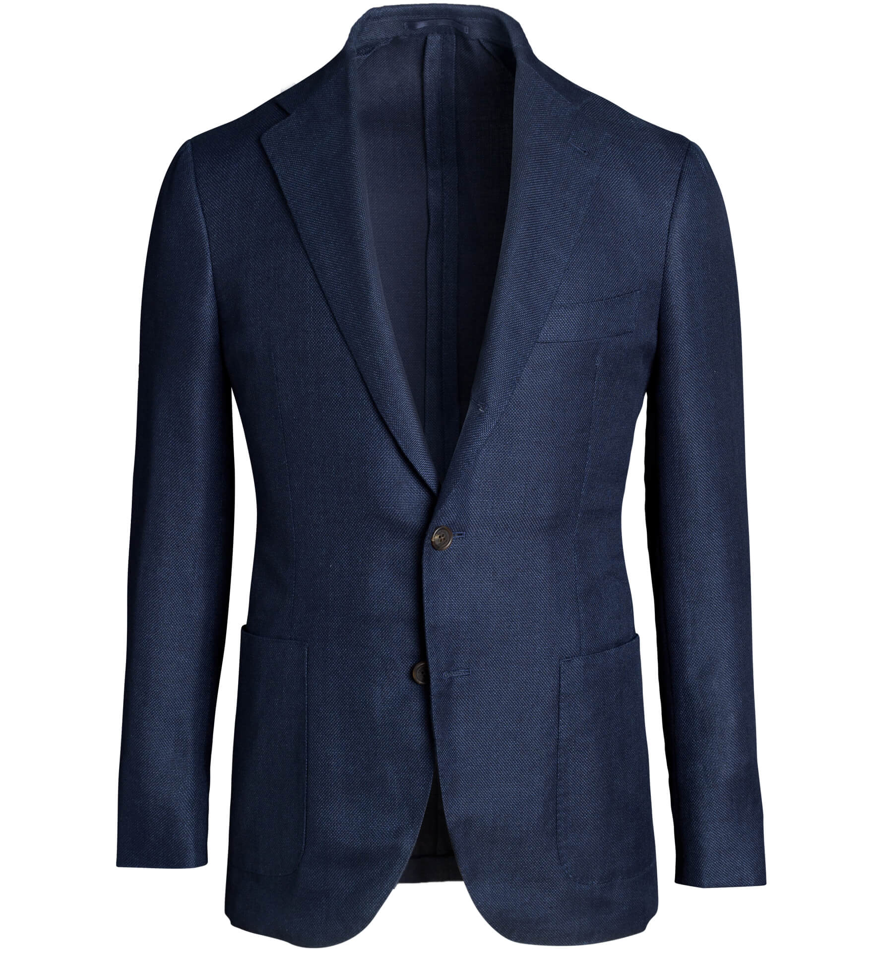 Zoom Image of Bedford Navy Wool and Linen Hopsack Jacket