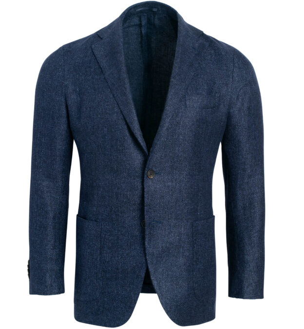 Waverly Navy Hemp and Wool Basketweave Jacket