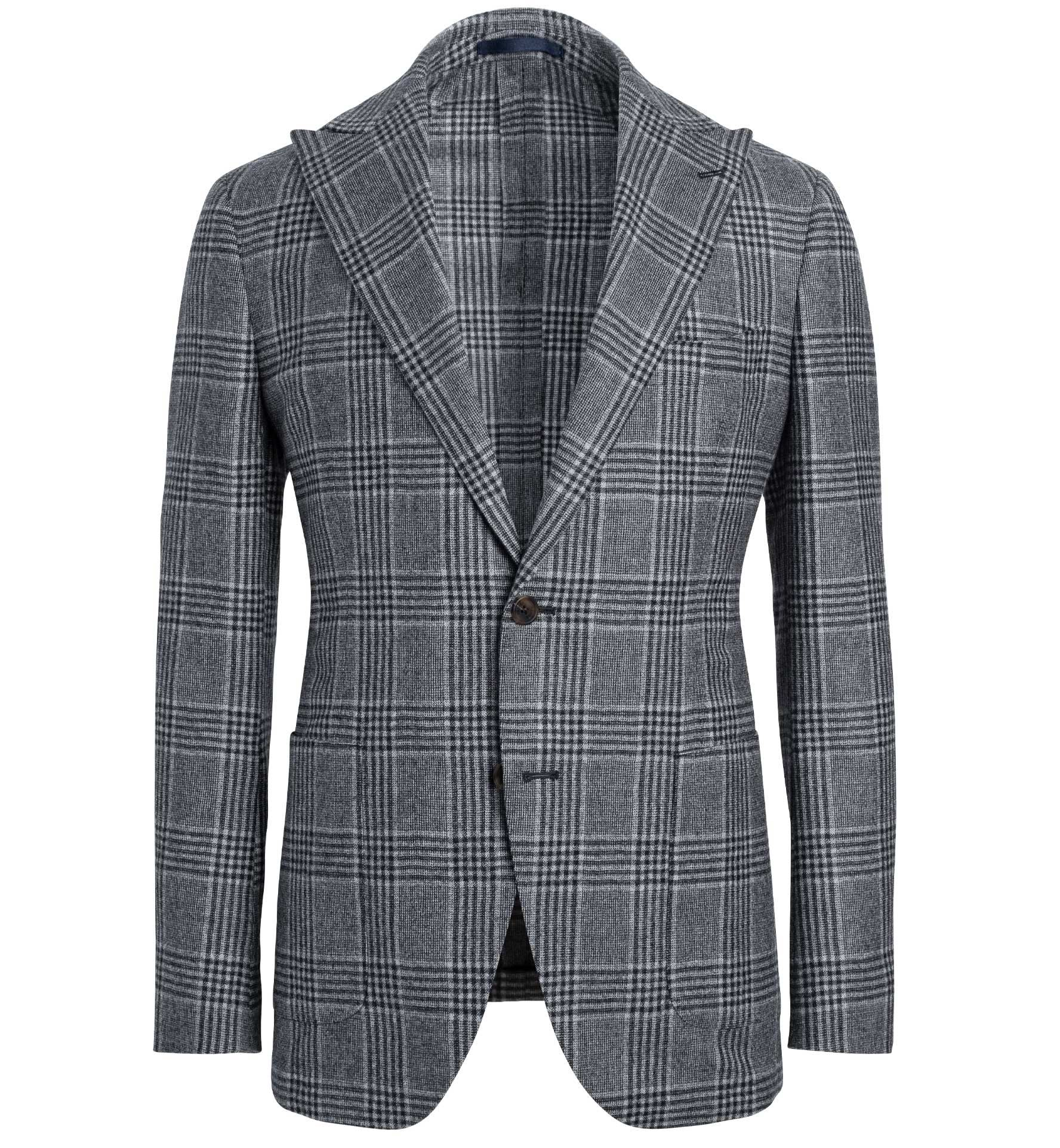 Zoom Image of Bedford Light Grey Large Glen Plaid Wool Jacket