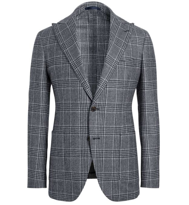 Bedford Light Grey Large Glen Plaid Wool Jacket