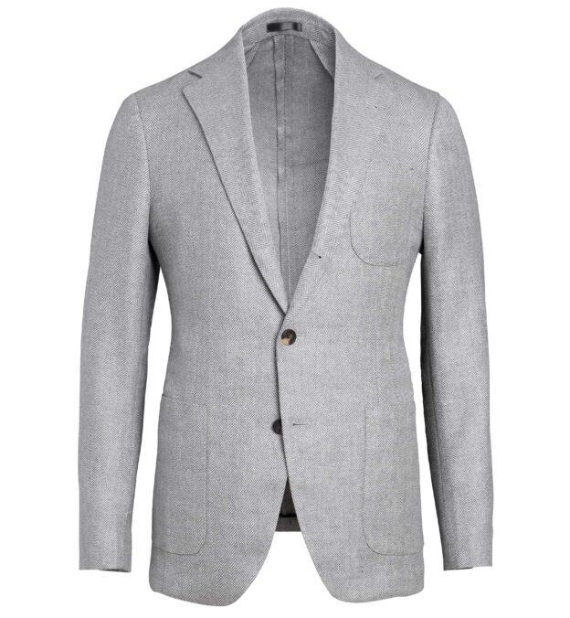 Bedford Light Grey Wool and Linen Herringbone Jacket