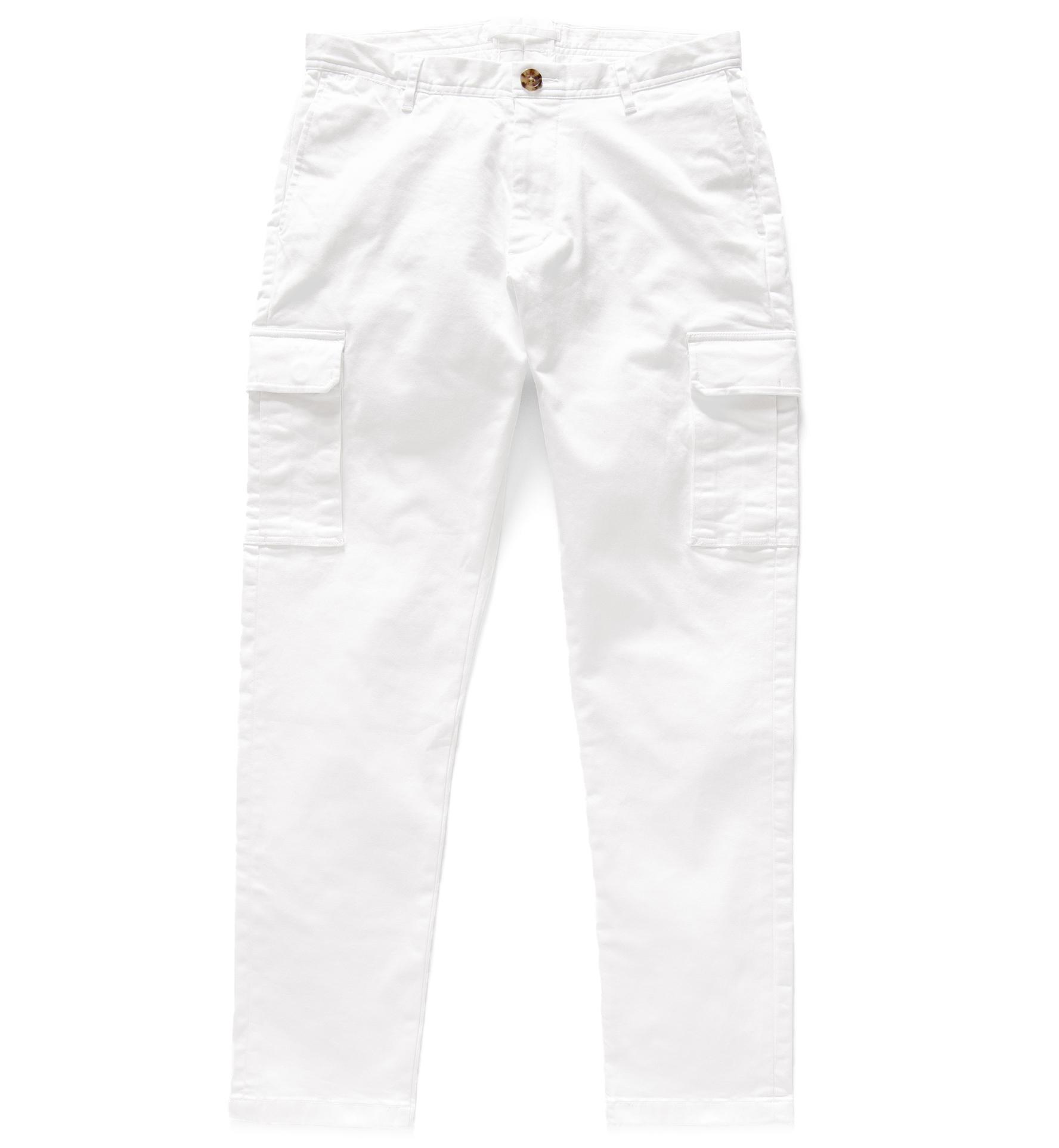 Zoom Image of Thompson White Stretch Heavy Cotton Cargo Pant