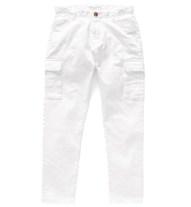 Thompson White Stretch Heavy Cotton Cargo Pant