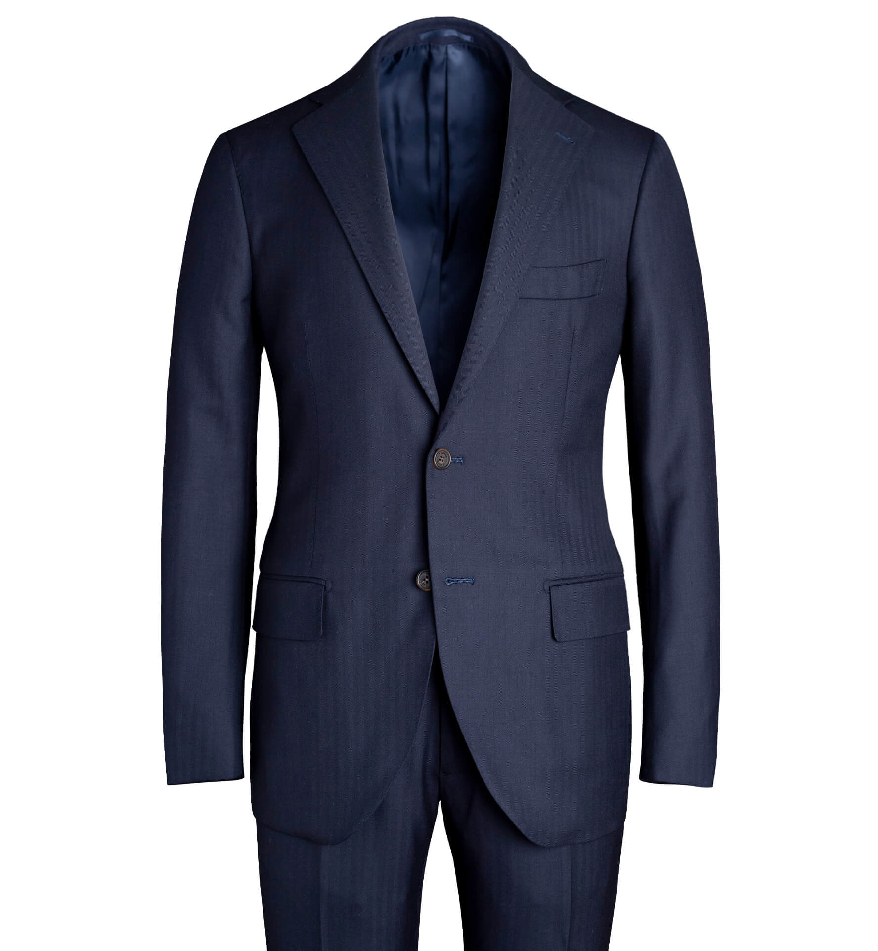 Zoom Image of Allen Navy S130s Herringbone Suit