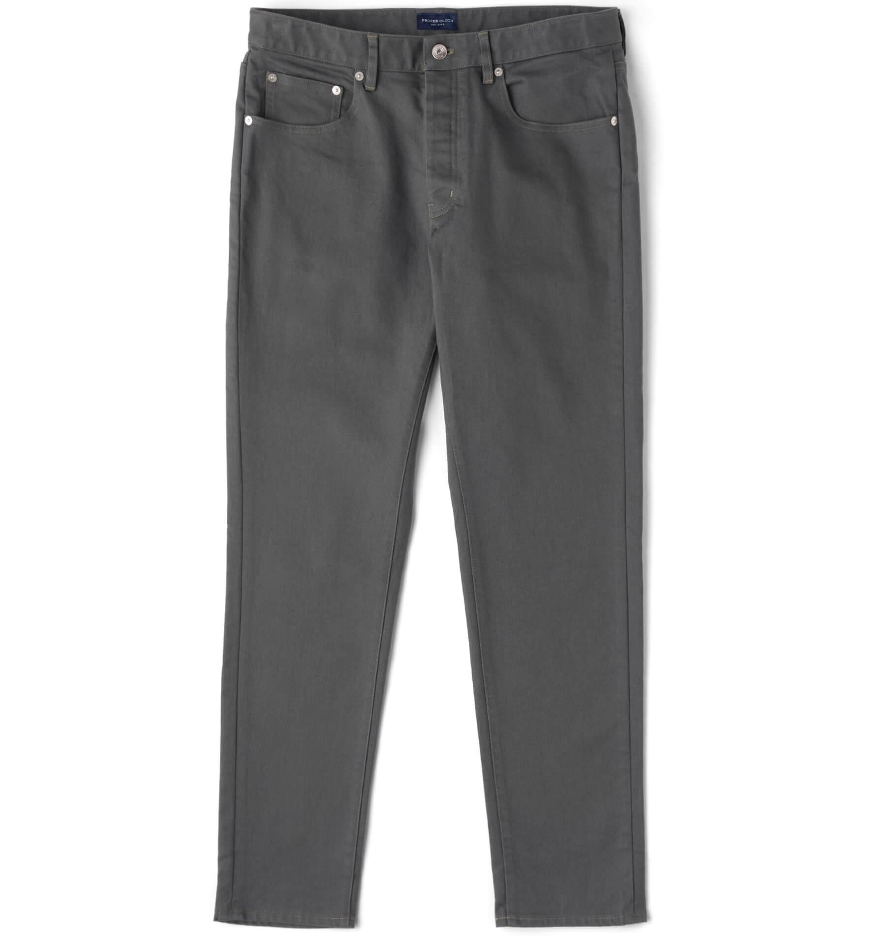 Zoom Image of Sullivan Charcoal Stretch Cotton Slub Twill Pant