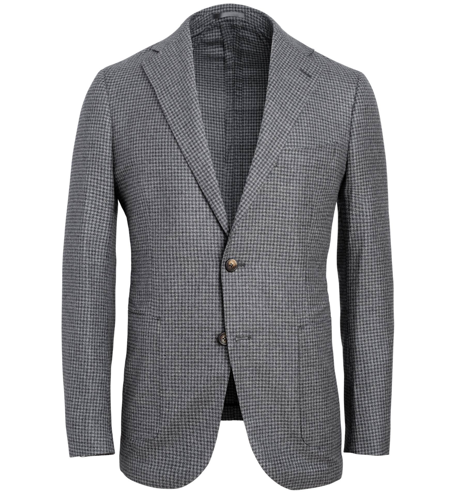 Zoom Image of Bedford Grey Melange Houndstooth Wool Cotton Blend Jacket