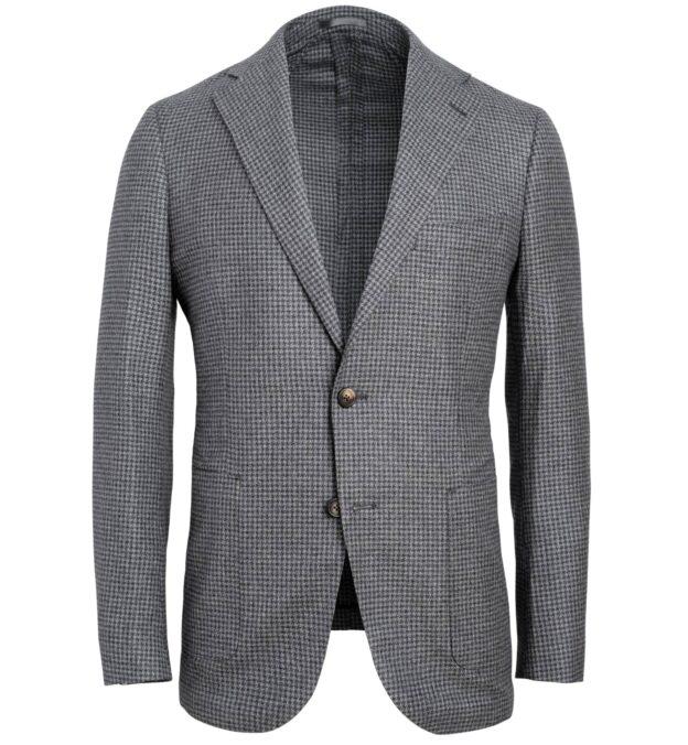 Bedford Grey Melange Houndstooth Wool Cotton Blend Jacket