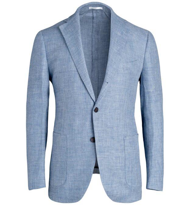 Bedford Sky Blue Wool and Linen Hopsack Jacket