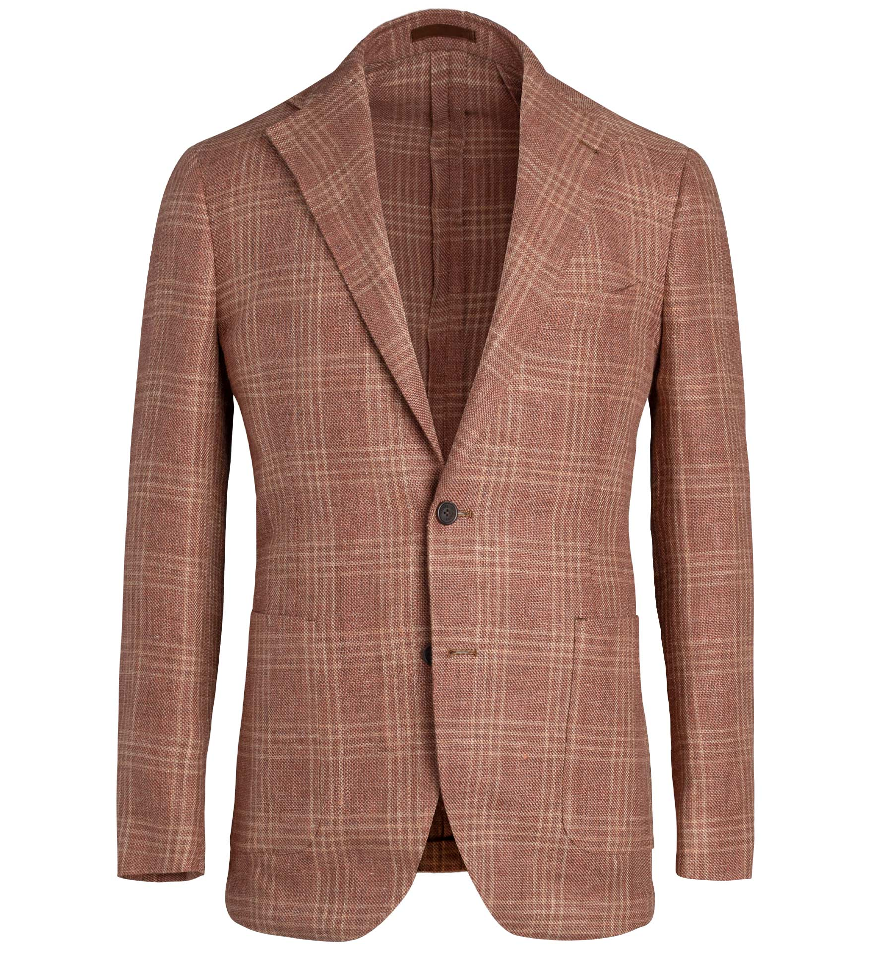 Zoom Image of Bedford Sienna Plaid Linen and Wool Hopsack Jacket