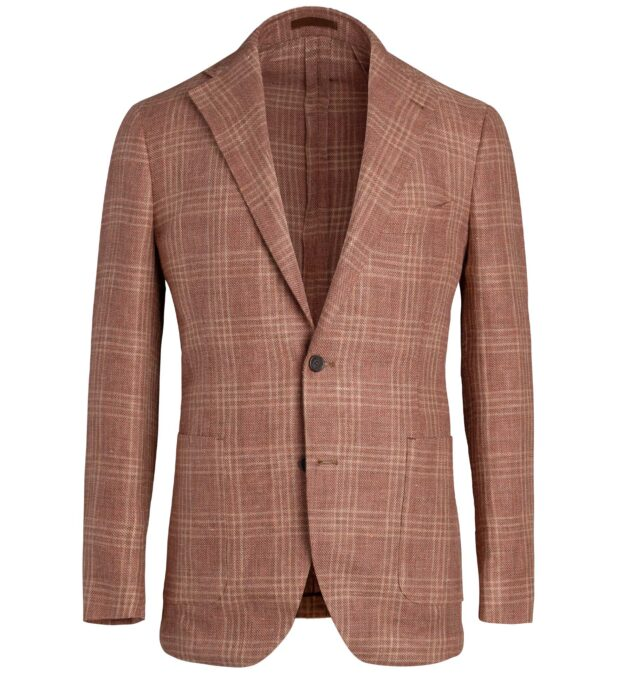 Bedford Sienna Plaid Linen and Wool Hopsack Jacket