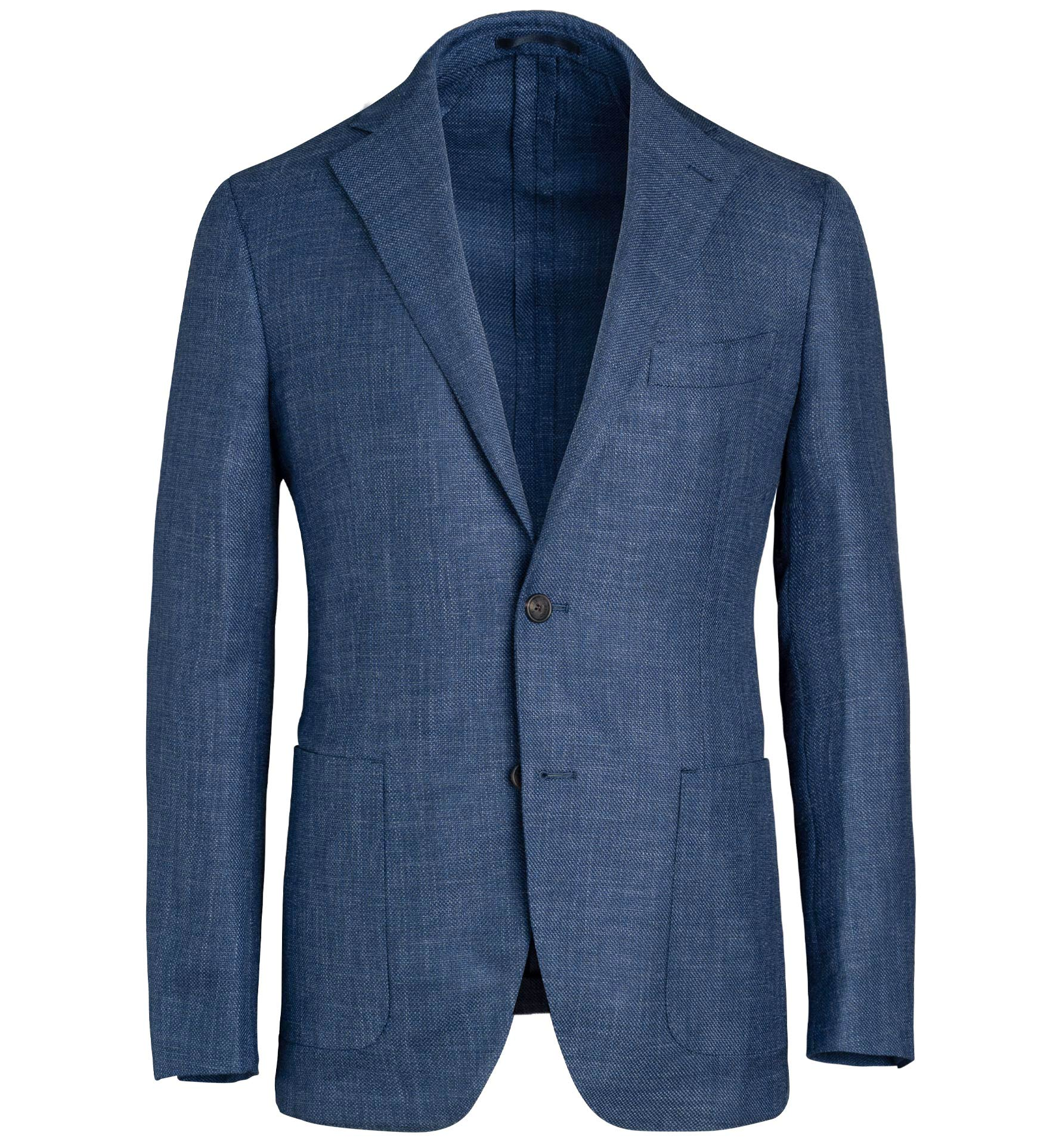 Zoom Image of Bedford Blue Wool Silk and Linen Hopsack Jacket